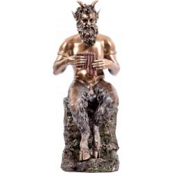 Παν / Πάνας καθισμένος σε βράχο παίζει σύριγξ (Διακοσμητικό Μπρούτζινο Αγαλμα 25cm)