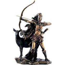 Θεά Αρτεμις κηνυγός με ελάφι και τόξο (Διακοσμητικό μπρούτζινο άγαλμα 25cm)