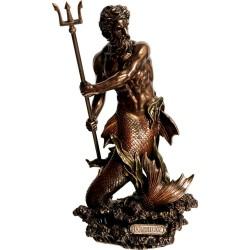 Θεός Ποσειδών με τρίαινα (Διακοσμητικό μπρούτζινο άγαλμα 29cm)