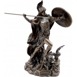 Θεά Αθηνά πετάει ακόντιο (Διακοσμητικό μπρούτζινο άγαλμα 26cm)