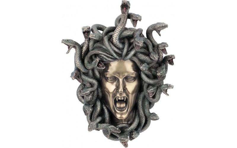 Μέδουσα: Ελληνική Μυθική γοργόνα (Διακοσμητικό Μπρούτζινο Αγαλμα / Μάσκα  Επιτοίχια 37cm)