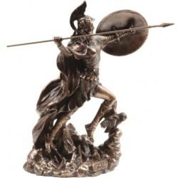Θεά Αθηνά πετάει ακόντιο (Διακοσμητικό μπρούτζινο άγαλμα 22cm)