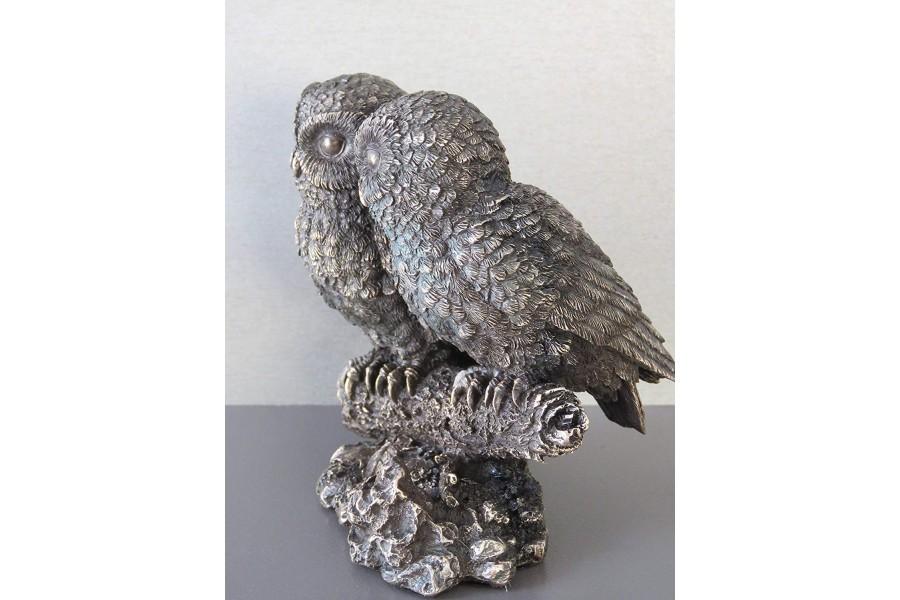 4c1dc0ceb353 Κουκουβάγιες ζευγάρι σε κλαδί (Διακοσμητικό μπρούτζινο άγαλμα 13cm)