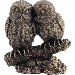 Κουκουβάγιες ζευγάρι σε κλαδί (Διακοσμητικό μπρούτζινο άγαλμα 13cm)