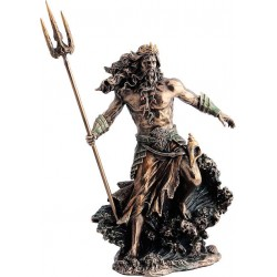 Θεός Ποσειδών με τρίαινα (Διακοσμητικό μπρούτζινο άγαλμα 30εκ)