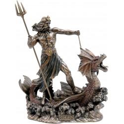 Θεός Ποσειδών πάνω σε δράκο (Διακοσμητικό μπρούτζινο άγαλμα 20cm)