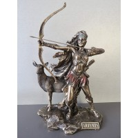 Θεά Αρτεμις κηνυγός με ελάφι και τόξο (Διακοσμητικό αλαβάστρινο άγαλμα 31cm)
